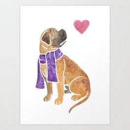 Watercolour Bullmastiff Art Print