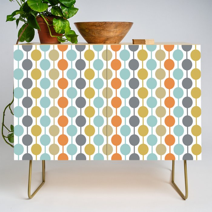 Retro Circles Mid Century Modern Background Credenza