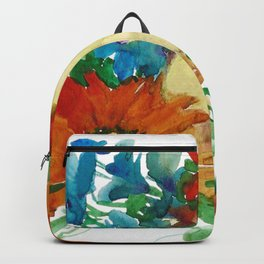 Watercolor Flowers and Fruits. Pear, Apple, and Flowers. Gerbera Daisies Backpack