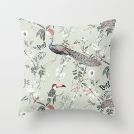 Oriental Peacock Toucan Floral Pattern Throw Pillow