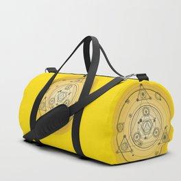 Yellow geometric circle with sacred geometry symbols Duffle Bag