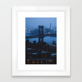 Manhattan Bridge at twilight Framed Art Print