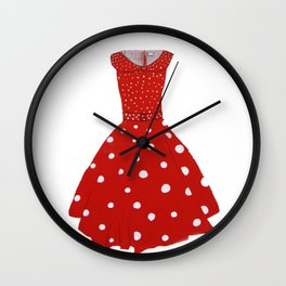 Polka Dotted Red Dress  Wall Clock