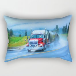 Driving Rain IV - Highway Truck in Rainstorm Artwork Rectangular Pillow