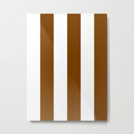 Wide Vertical Stripes - White and Chocolate Brown Metal Print