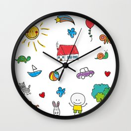 Lovely Kids Doodle Wall Clock