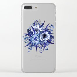 Blue China Porcelain, Flower, Floral Clear iPhone Case