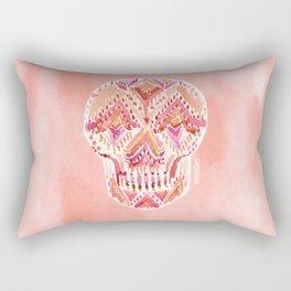SO LIT SKULL Peach Tribal Watercolor Rectangular Pillow