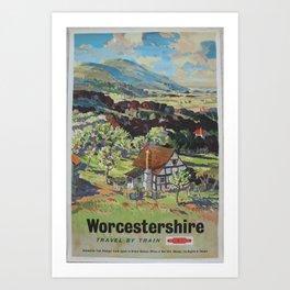 Worcestershire Vintage Travel Poster Art Print
