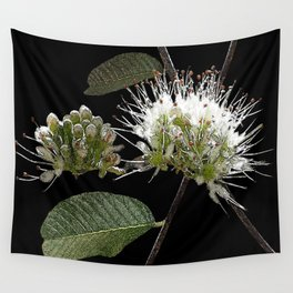 White Floral Watercolor Wall Tapestry