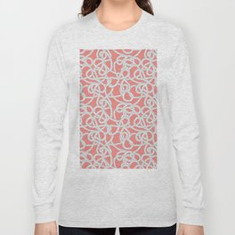 Nautical Rope Knots in Coral Long Sleeve T-shirt