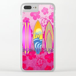 Pink Born To Surf Pink Flowers Clear iPhone Case