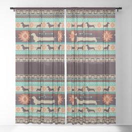 Boho dogs | Smooth Dachshund sunset Sheer Curtain