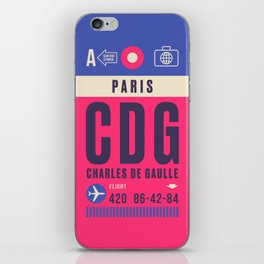 Retro Airline Luggage Tag - CDG Paris Charles de Gaulle iPhone Skin