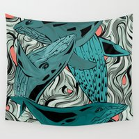 whales Wall Tapestries featuring Whales by melcsee