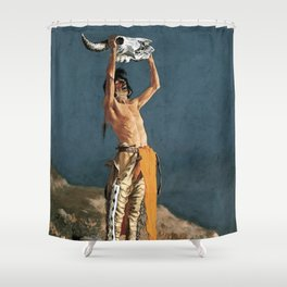 "Western Art ""Conjuring Back the Buffalo"" by Frederic Remington Shower Curtain"