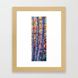 Autumn Aspen Trees Contemporary Painting with a Palette Knife Framed Art Print