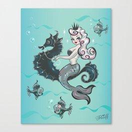 Pearla on Seahorse Canvas Print