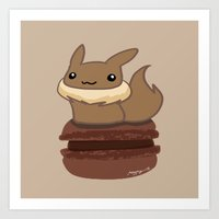 eevee Art Prints featuring Eevee Macaron by Mayying