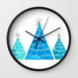 Blue Christmas trees Wall Clock