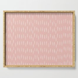 Festive, Boho Prints, Raindrops, Pink, Minimalism, Abstract Art Serving Tray