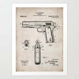 Colt Pistol Patent - Browning 1911 Colt Art - Antique Art Print