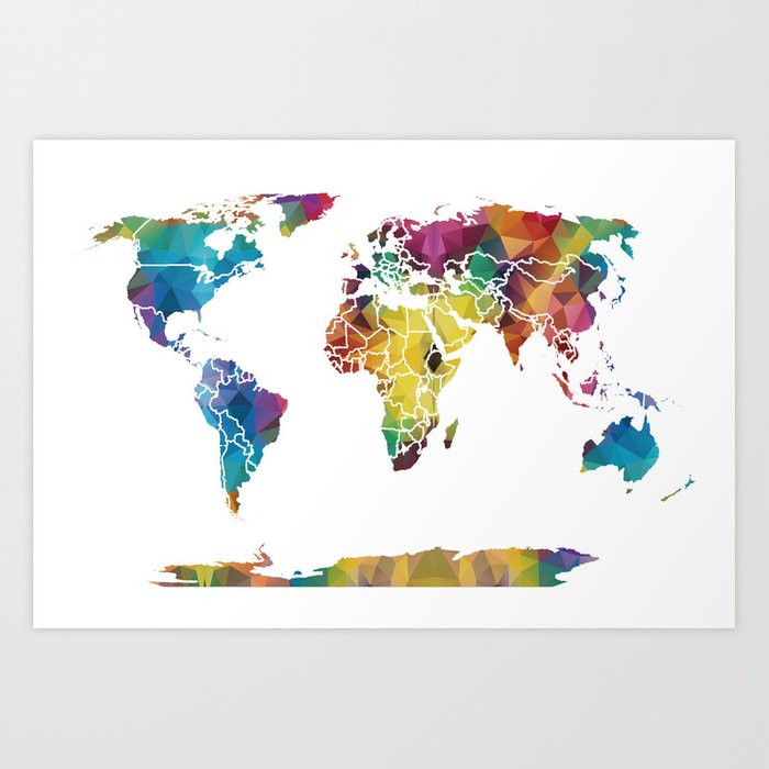 Geometric World Map Art Print By Catherineholcombe Society6