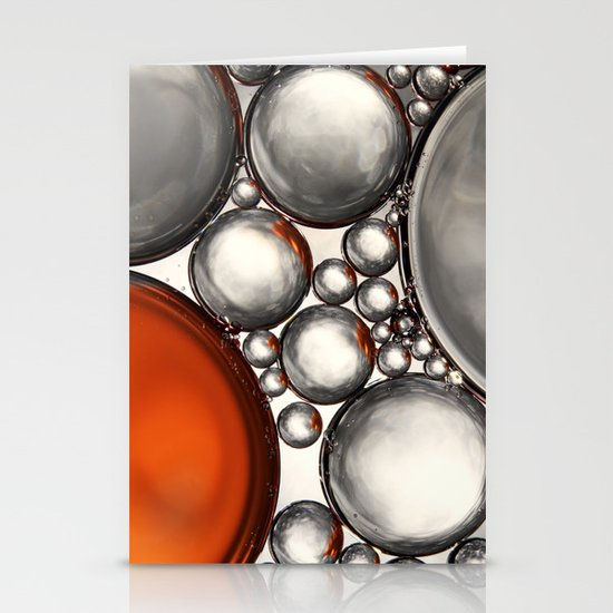 Mercury and Bronze Bubble Abstract Stationery Cards
