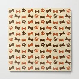 Dog Paws and Bone Cookies Patern Metal Print