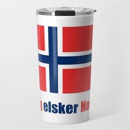 flag of norway 4 snow,scandinavia,scandinavian,norwegian,oslo Travel Mug