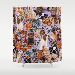 Dog and Floral Pattern Shower Curtain