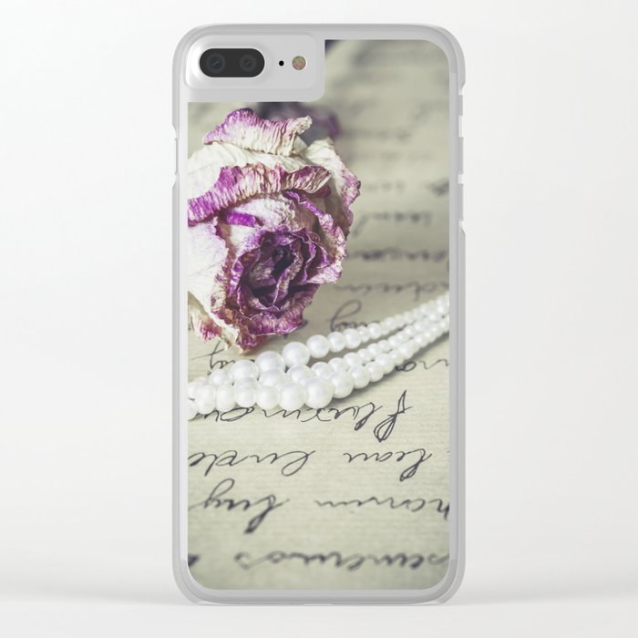 love letter with pearls and rose Clear iPhone Case