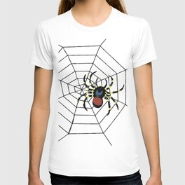 two big Spider Halloween web T-shirt