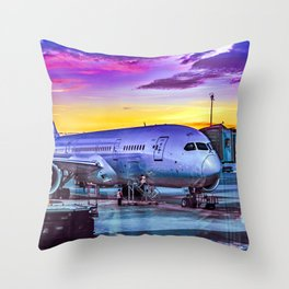 Plane Parked at Barajas Airport, Madrid, Spain Throw Pillow