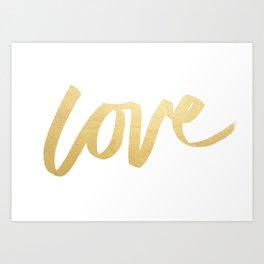 Love Gold White Type Art Print