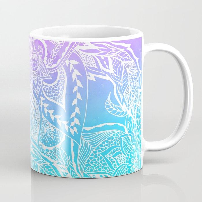 Modern purple turquoise mermaid watercolor floral white boho hand drawn pattern Coffee Mug