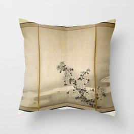 Soga Shōhaku - Chrysanthemums by a Stream Throw Pillow