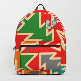 Retro deer and Christmas trees Backpack