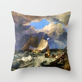 12,000pixel-500dpi - Calais Pier - joseph mallord william turner Throw Pillow