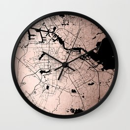 Amsterdam Rosegold on Black Street Map Wall Clock