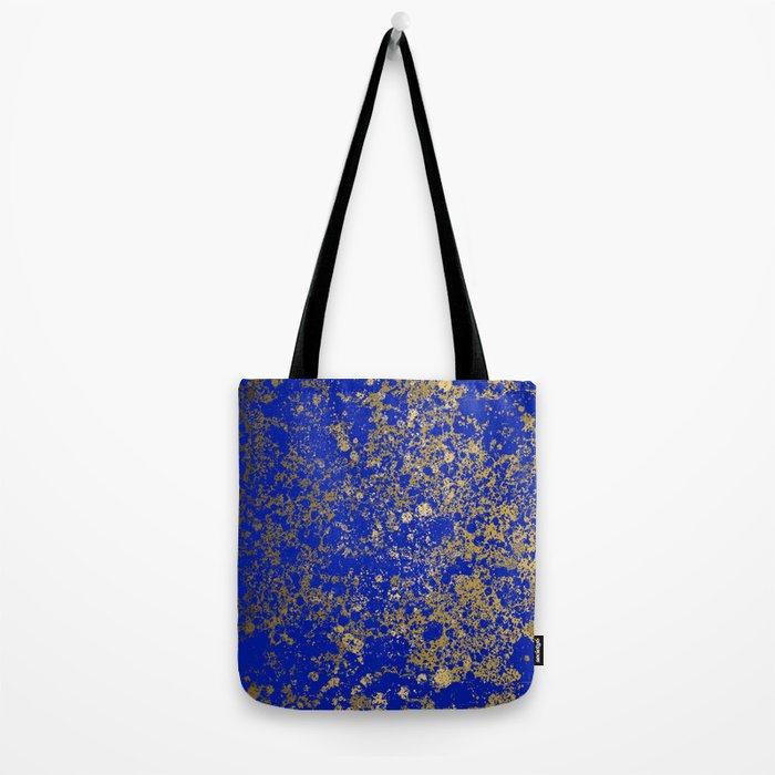 Royal Blue and Gold Patina Design Tote Bag