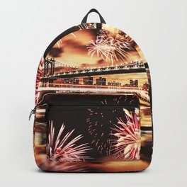 new york city with fireworks Backpack