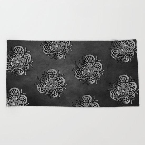 timespaceflower (black and white) ( HQ pixel ) Beach Towel