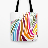 zebra Tote Bags featuring Zebra by graphicinvasion