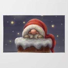 Little Santa in a chimney Rug