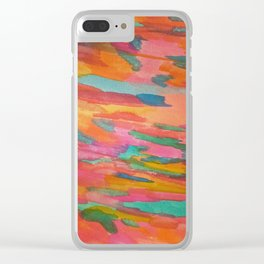 Rainbow Sherbet Abstract Painting Clear iPhone Case