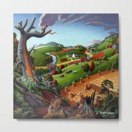 Autumn Wheat Harvest Farm Landscape Metal Print