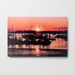 Sunset Harbor And Sky Metal Print