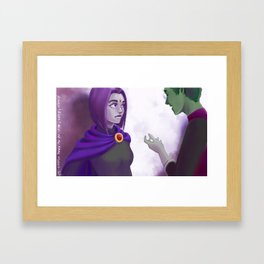Raven and Beast Boy - Teen Titans Framed Art Print
