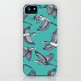 great blue herons verdigris iPhone Case